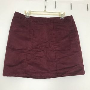 Faux suede wine colored mini skirt